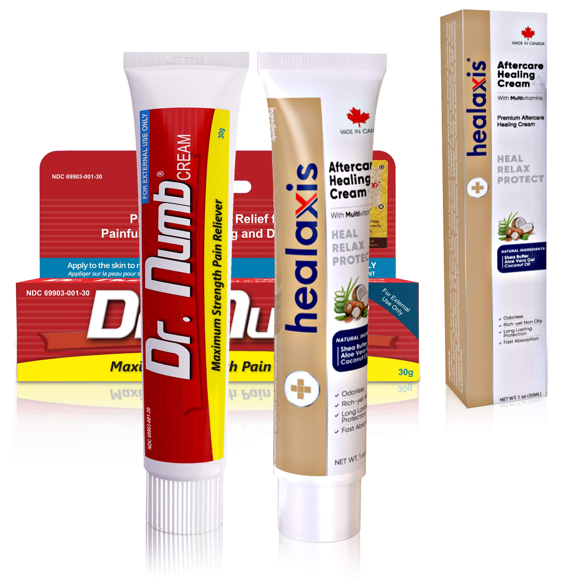 1 Tube of Healaxis Aftercare Healing Cream + 1 Tube of Dr. Numb 5% Numbing Cream (30g + 30g)