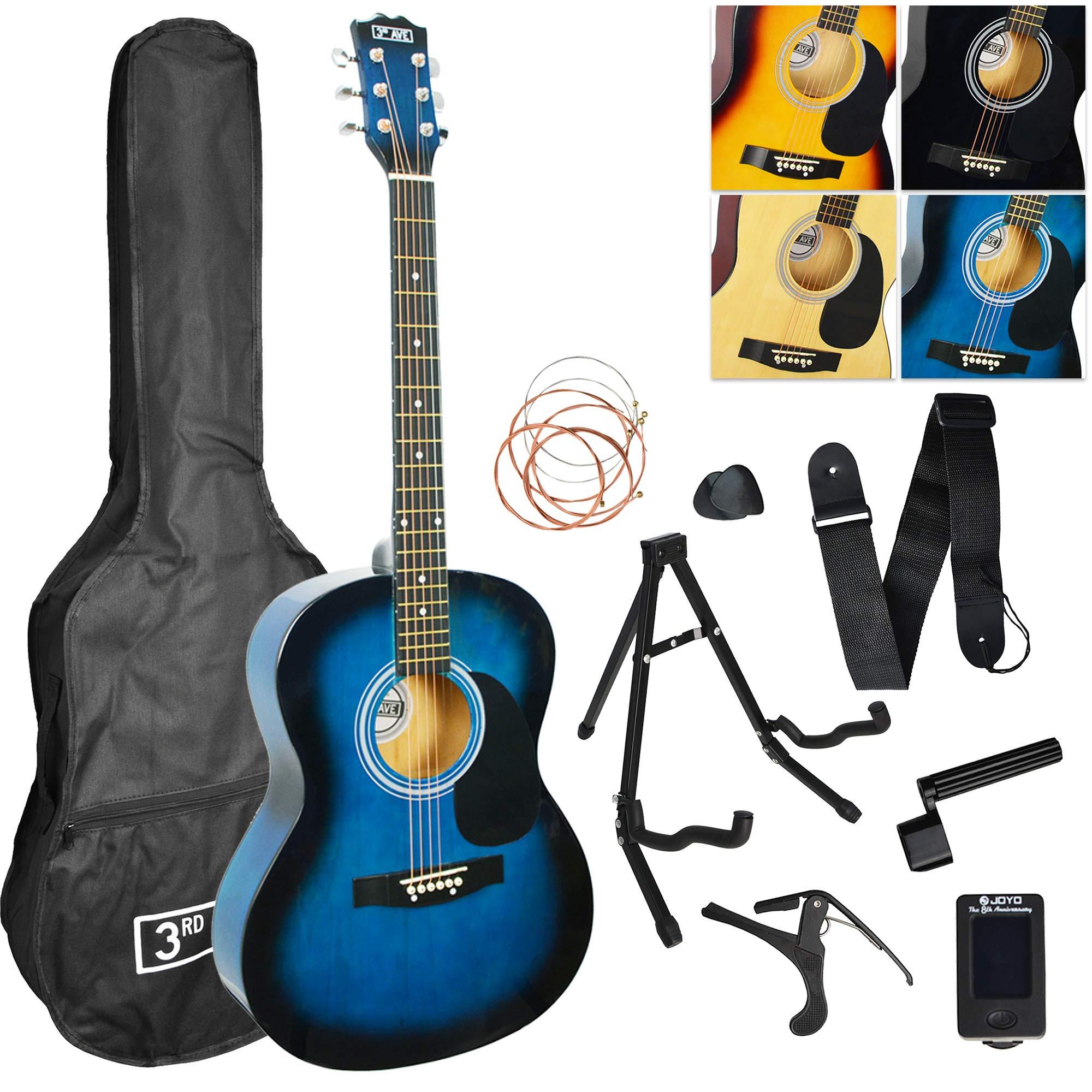 3rd Avenue Acoustic Guitar Premium Beginner Starter Pack - Blueburst