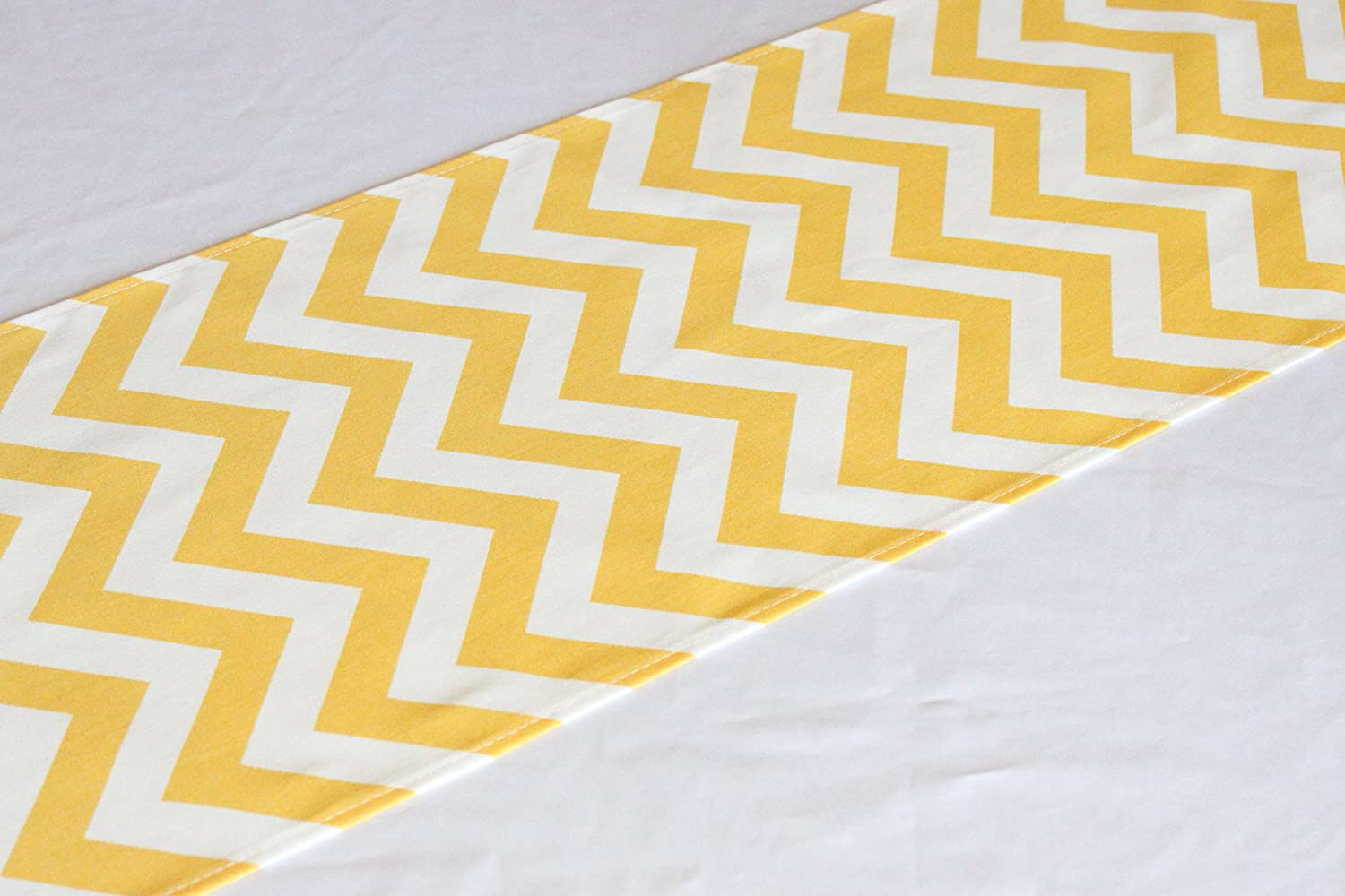 Yellow chevron summer fall table runner 12x84 inches