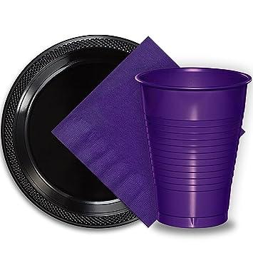 50 Black Plastic Plates (9u0026quot;) 50 Purple Plastic Cups (12 oz  sc 1 st  Amazon.com & Amazon.com: 50 Black Plastic Plates (9