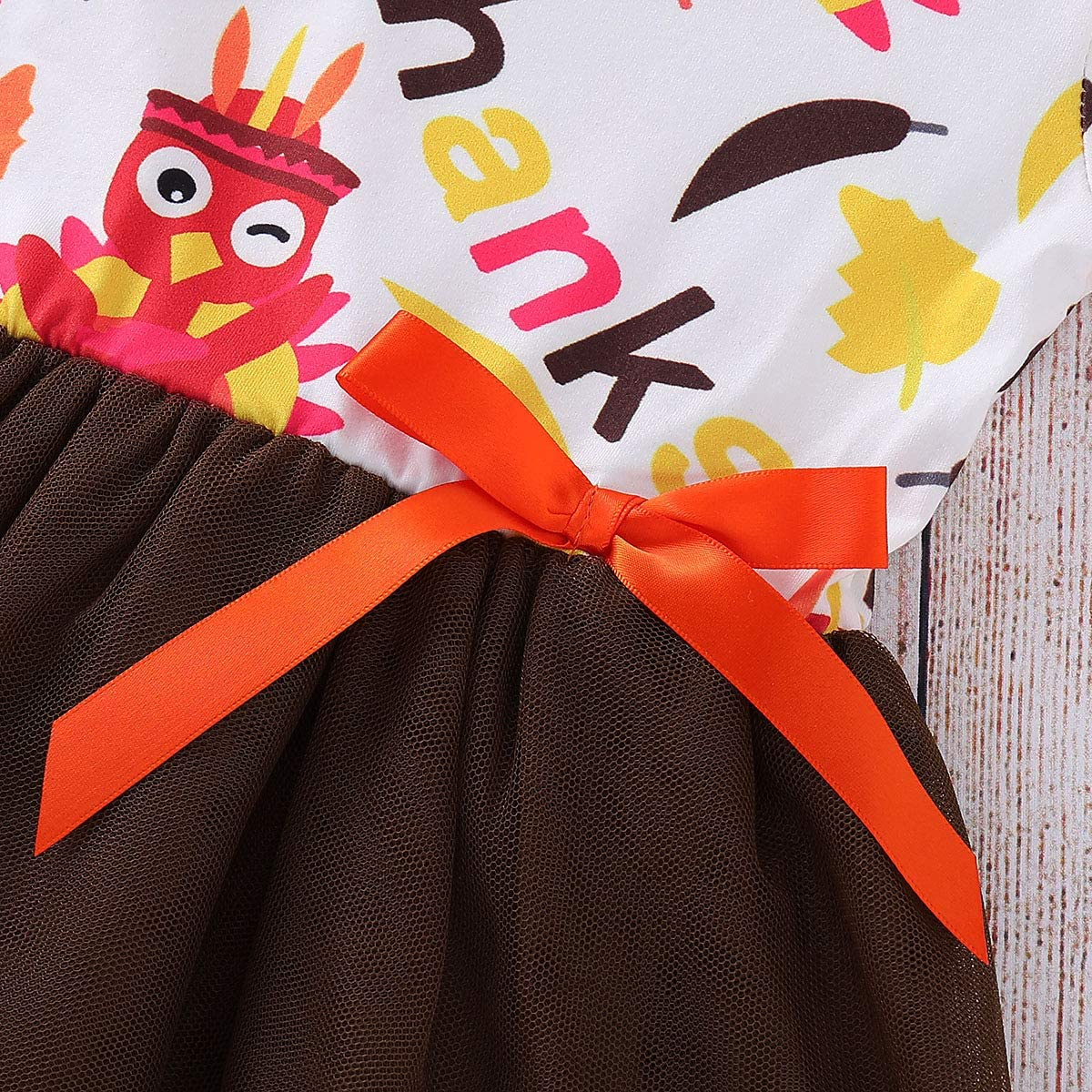 Headband MILWAY Kid Baby Girls Turkey Clothes Long Sleeve Tulle Tutu Dress Set