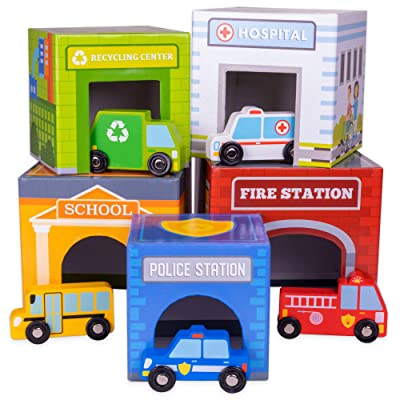 Little City Match & Stack Nesting Blocks | 5 Cars and Stackable Buildings | Vehicles Fit into Colorful Cube Shapes | Includes Police Car, Ambulance, Recycling Truck, School Bus, and Firetruck: Toys & Games
