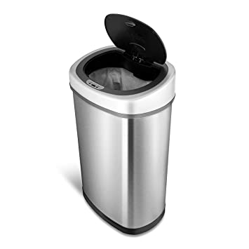 NINESTARS DZT 50 9 Automatic Touchless Motion Sensor Oval Trash Can, 13.2  Gal
