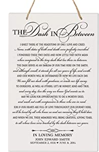 """LifeSong Milestones Personalized Memorial Wall Hanging Bereavement Sign - Sympathy Condolence Funeral Gift for Loss of Mother, Father, Child, Parents, Loved Ones 8"""" x 12"""" (The Dash in Between)"""