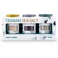 Tasman Sea Salt | Gift Set | Smoked, Pepper Berry, and Wakame Seaweed Sea Salt Flakes | High Quality, Unrefined, Pure…