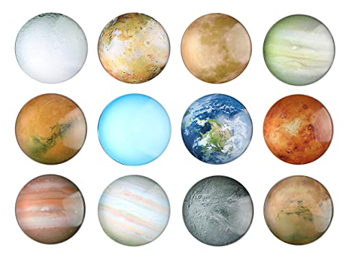 12 Planetary Fridge Magnets - Refrigerator Magnets, Office Magnets, Calendar Magnet, Whiteboard Magnets,Perfect Decorative Magnet Set