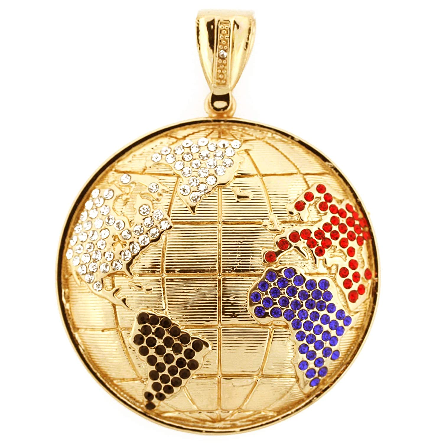 Class A Collection Globe Micropave Pendant AAA Cubic Zirconia with 30inch Franco Gold Chain Hip Hop Bling for Men and Boys