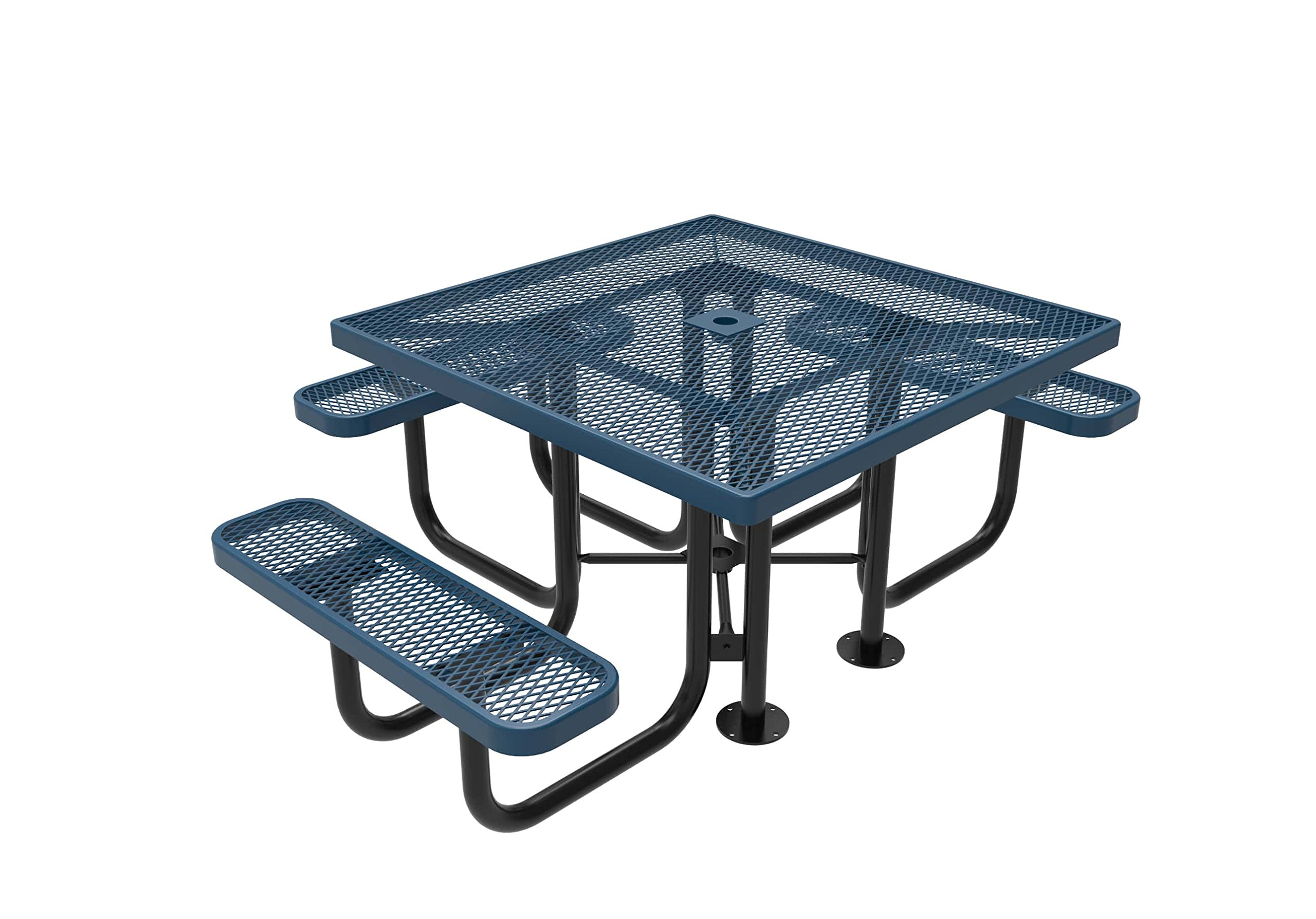 CoatedOutdoorFurniture TSQH-LBL Top Square Portable Picnic Table, Handicap Accessible, Light Blue by CoatedOutdoorFurniture