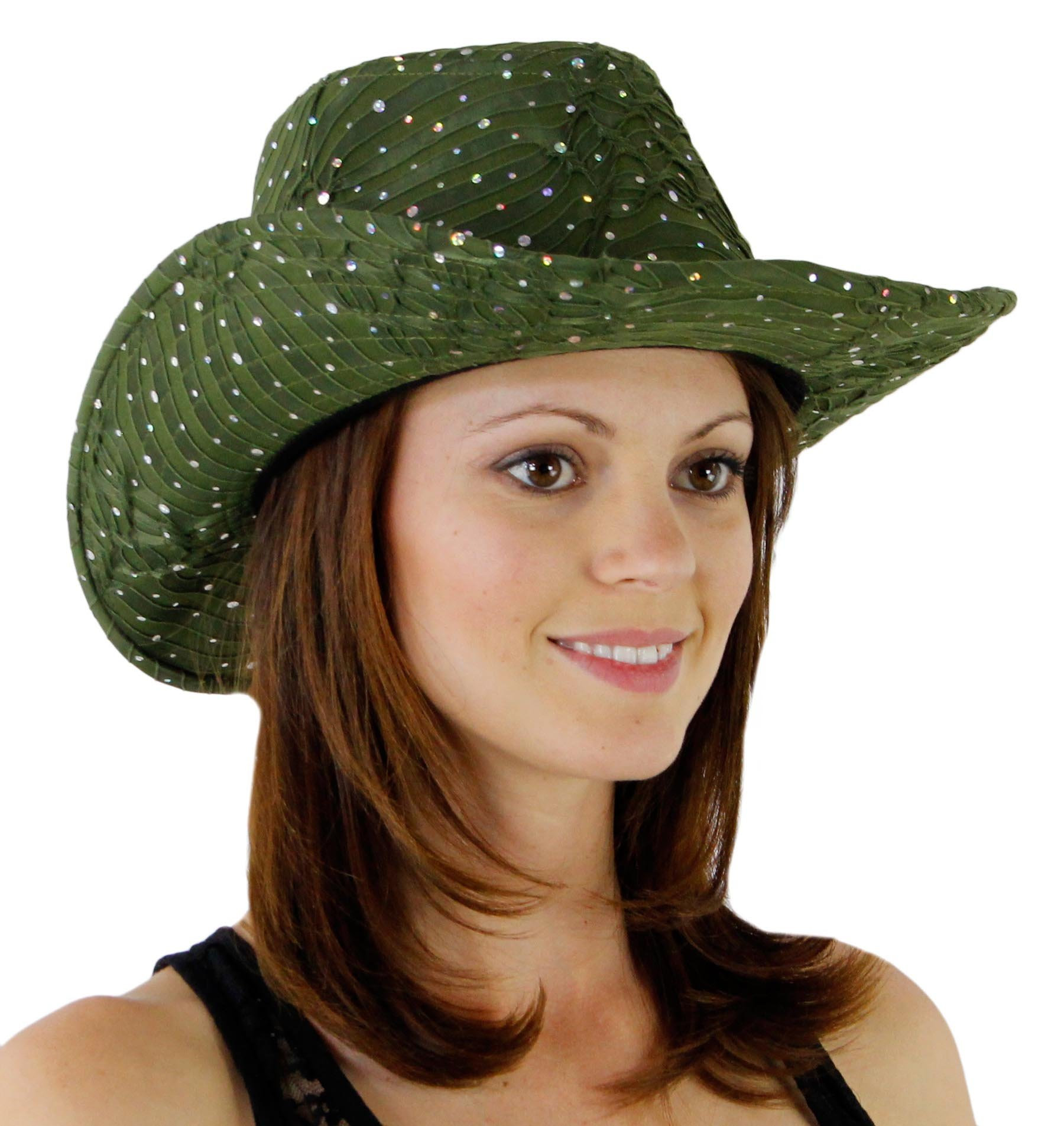 Glitter Sequin Trim Cowboy Hat Olive Green One Size