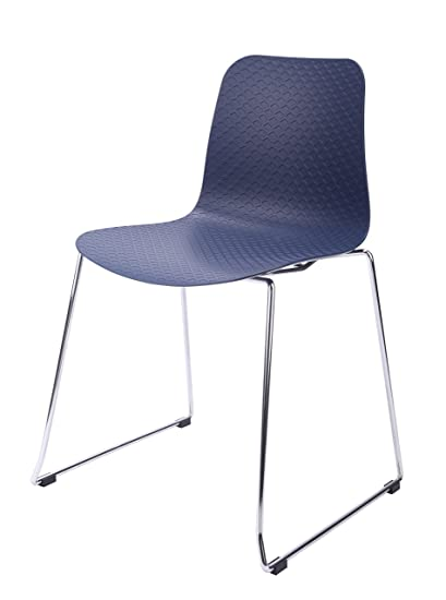 Genial Hebe Series Navy Dining Shell Side Chair Molded Plastic Steel Wire Metal  Legs