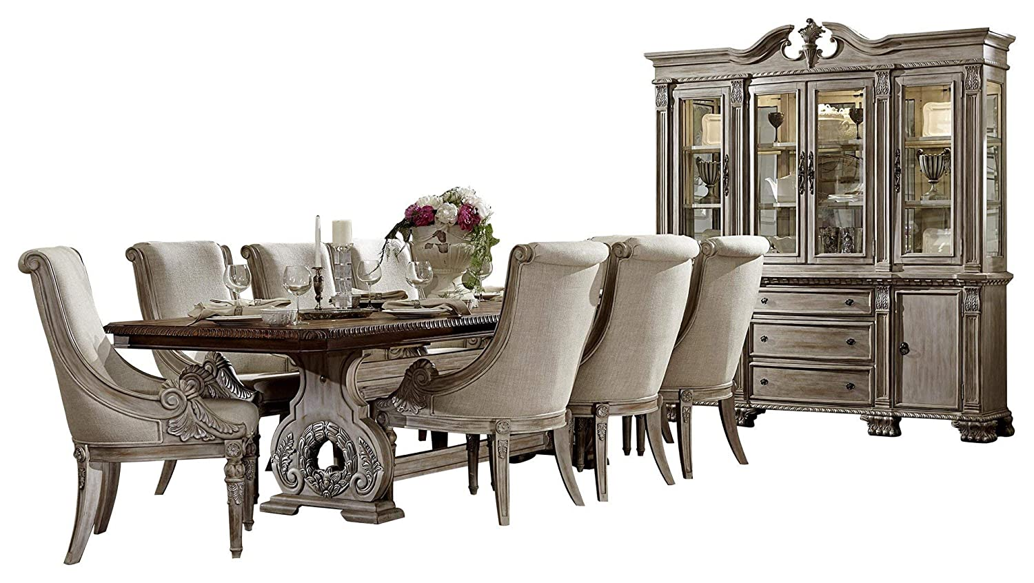 Chambord French Country 10PC Dining Set Table, 8 Chair, Buffet & Hutch in Antique White