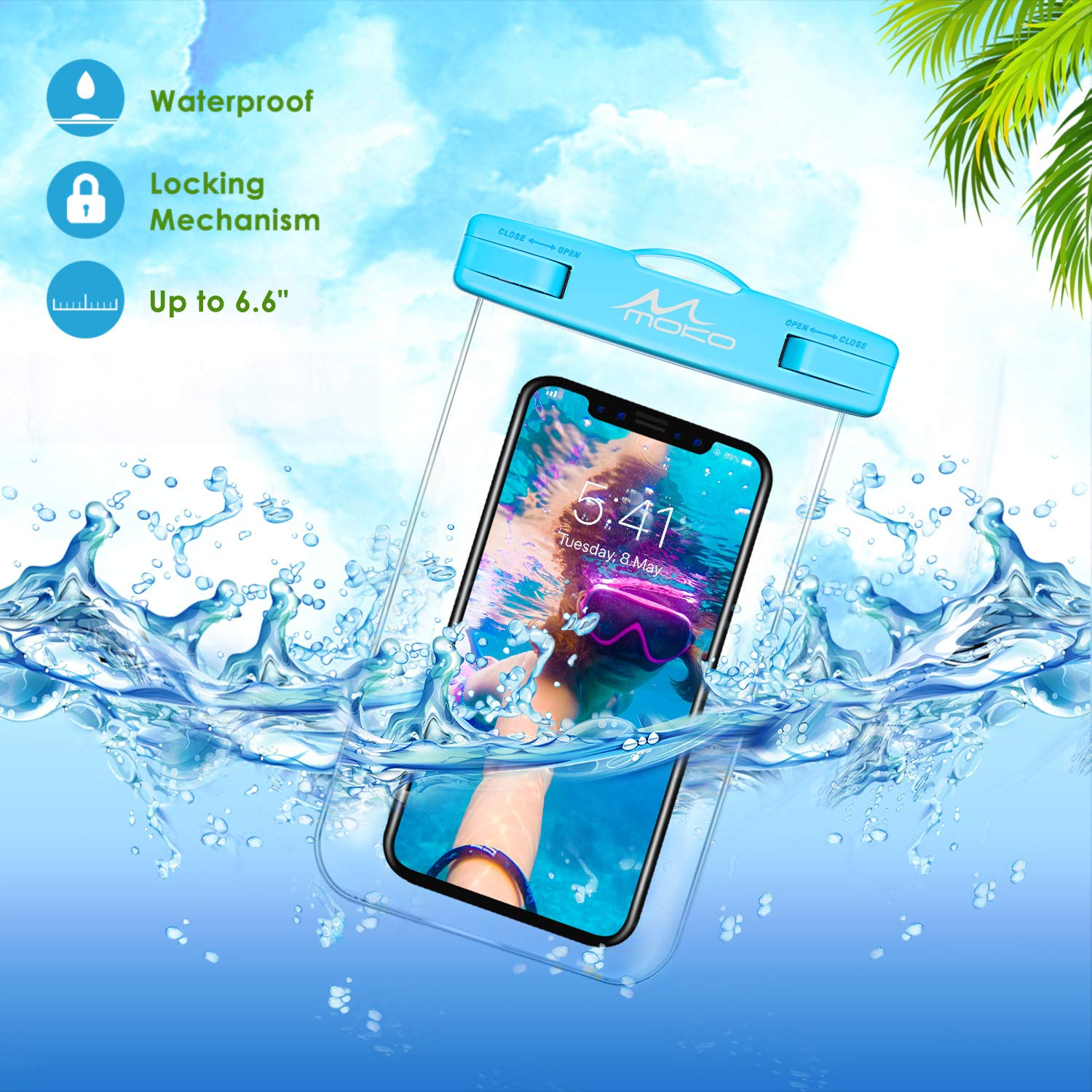 Underwater Clear Phone Case Dry Bag with Lanyard Compatible with iPhone 11//11 Pro Max Note 10//9//8 8//7//6 Plus A10E Samsung S10//S9//S8 Plus 2 Pack X//Xs//Xr//Xs Max S10e MoKo Waterproof Phone Pouch