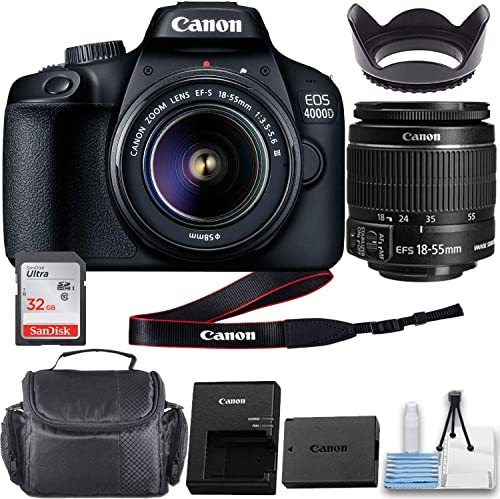 Canon EOS 4000D DSLR Camera with EF-S 18-55mm f/3.5-5.6 III Lens and Basic Accessory Kit