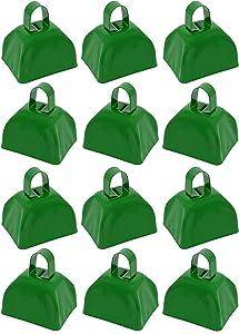 Metal School Cowbells - Set of 12 Green Metal Cowbell Noisemakers (Green Cowbells)