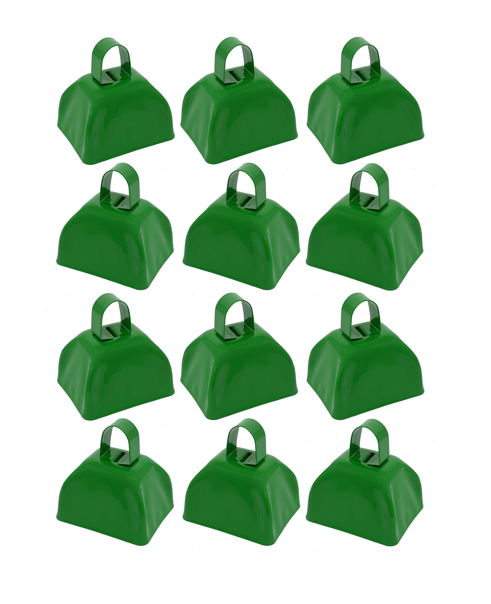 School Cowbells - Set of 12 Metal Cowbell Noisemakers (Select A Color) (Green)