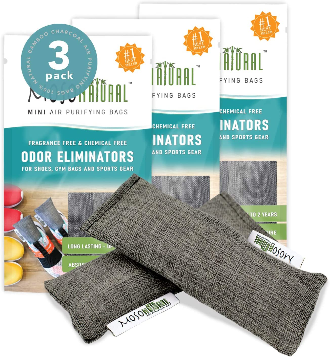 MOSO NATURAL: The Original Air Purifying Bag for Shoes, Gym Bags and Sports Gear. an Unscented, Chemical-Free Odor Eliminator 2 Packs of 3 (6 Total)