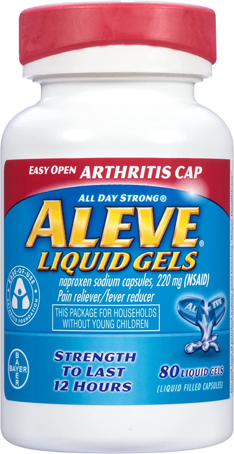 Aleve Liquid Gels with Easy Open Arthritis Cap, Naproxen Sodium, 220mg (NSAID) Pain Reliever/Fever Reducer, 80 Count: Health & Personal Care