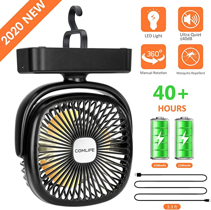 COMLIFE Portable LED Camping Lantern with Tent Ceiling Fan 4400 mAh Battery Powered Mini Desk Fan with USB Charging Input Survival Kit for Hurricane,