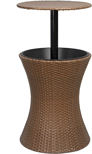 ZENY Cool Bar Rattan Style Patio Pool Cooler Table W/Height Adjustable Top Outdoor Wicker Ice Bucket Cocktail Coffee Table