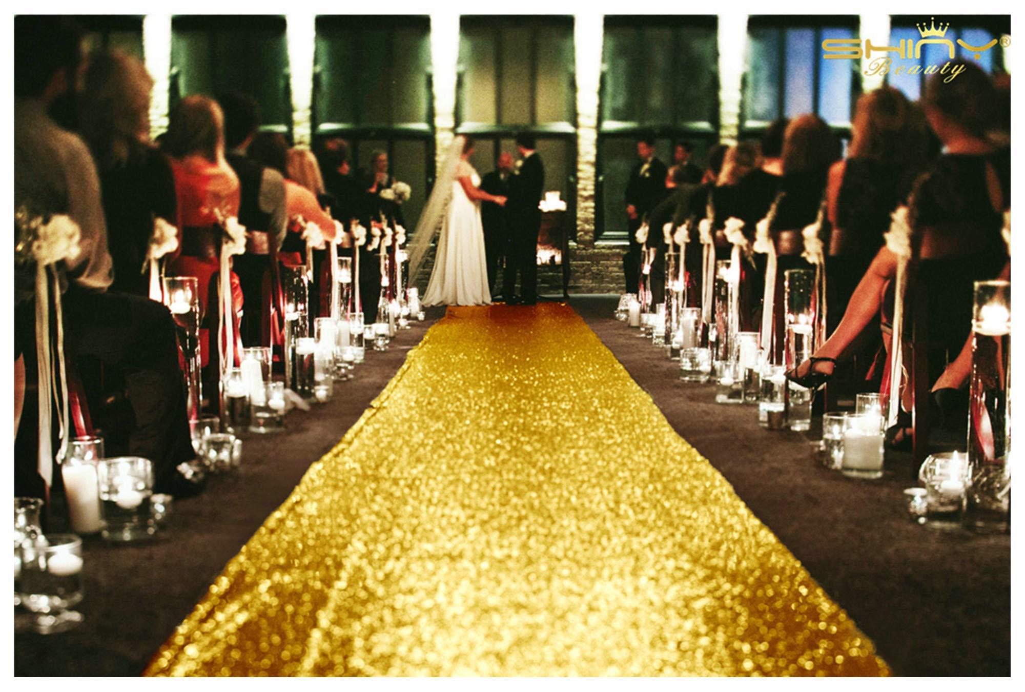 ShinyBeauty Isle Runner Gold Wedding Aisle Runners 40 Feet Beach Wedding Decorations ~N10.11