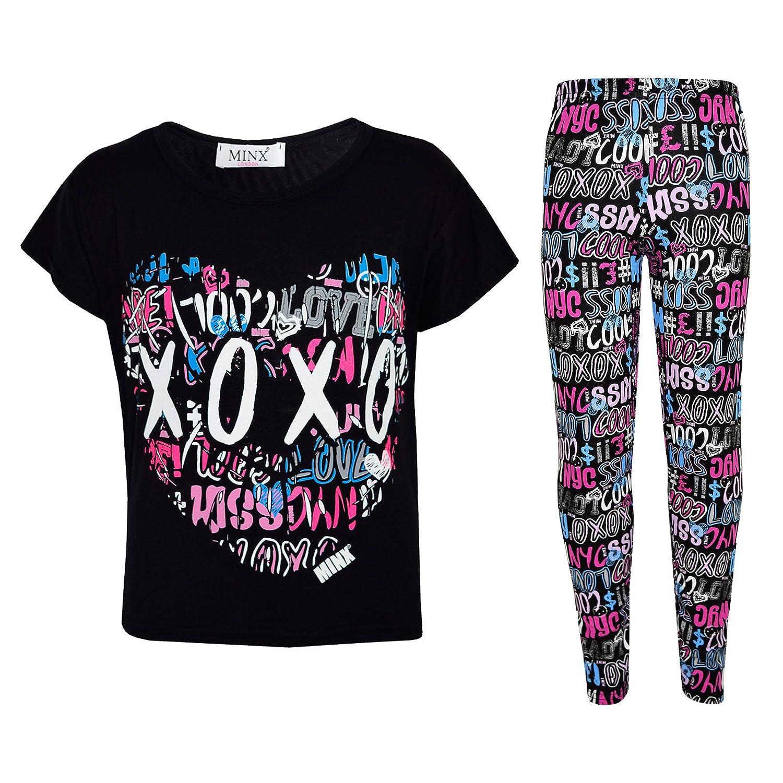 Kids Girls XOXO Printed Trendy Top & Cool Graffiti Fashion Legging Set 7-13 Year