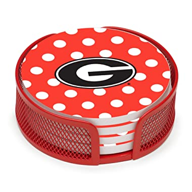 Thirstystone VUGA2-HA24 Stoneware Drink Coaster Set with Holder, University of Georgia Dots