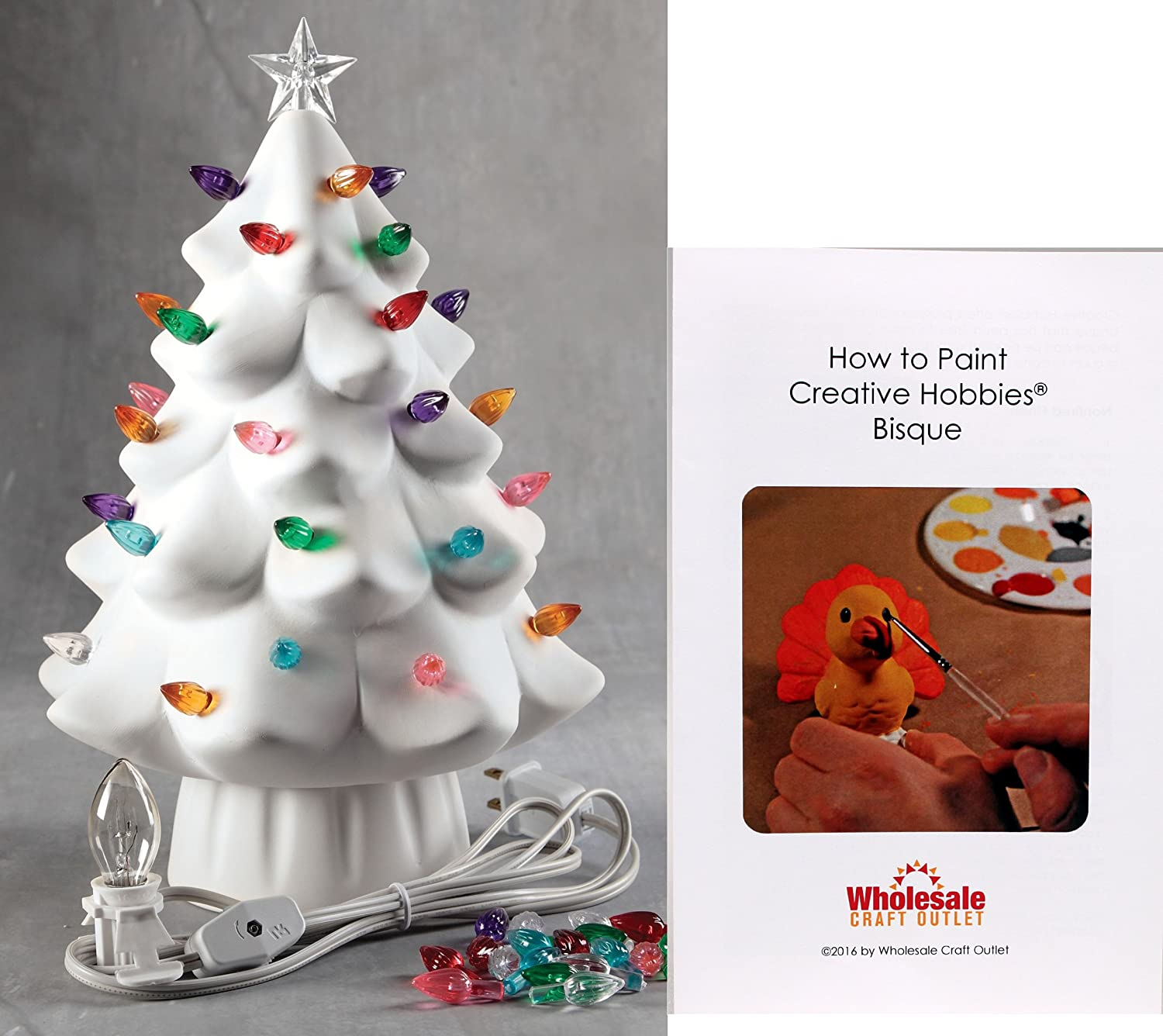 Creative Hobbies 11 Inch Tall Ceramic Bisque Light Up Christmas Tree Ready To Paint Includes Electrical Cord Bulb Twist Lites Star How To Paint