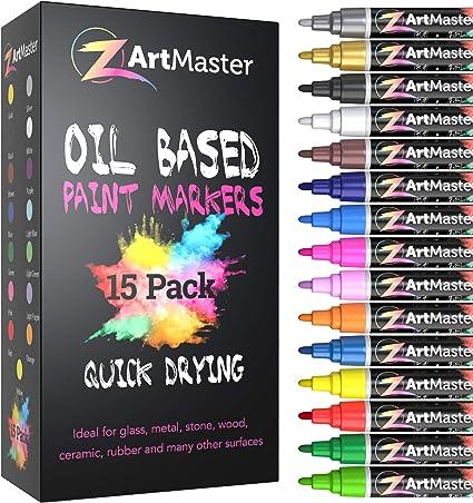Paint Markers 15 Color Set Medium Point Permanent Oil Based Paint Pens For Calligraphy Lettering Rock Painting Metal Ceramic Porcelain Glass