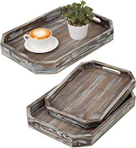 MyGift Rustic Torched Wood Nesting Serving Breakfast Trays with Cutout Handles and Angled Edges, Set of 3