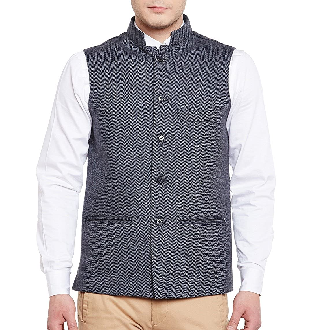 WINTAGE Men's Tweed Bandhgala Festive Nehru Jacket Waistcoat -3 Colors