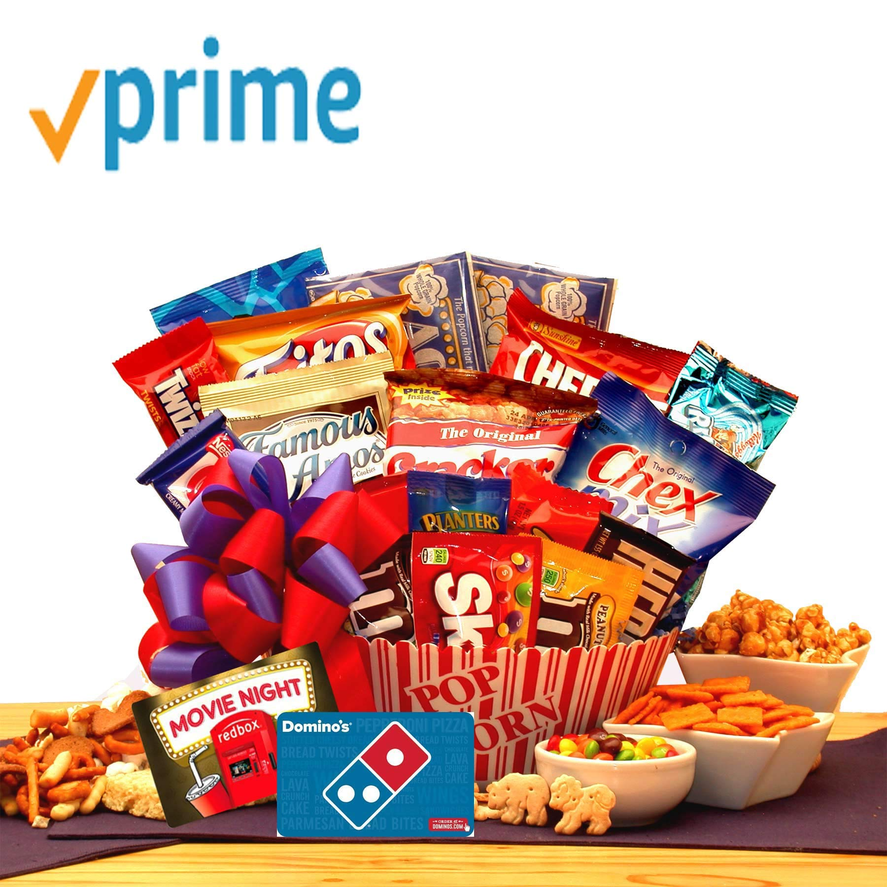 Movie Lovers Ultimate Movie Night Gift with Redbox Card, Dominos Pizza gift card, popcorn, chocolates, snacks and more by GiftBasketsAssociates