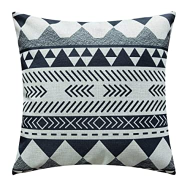 NATURALSHOW Cotton Linen Home Decorative Aztec Print Tribal Throw Pillow Case Cushion Cover for Sofa Couch Chair Geometric Pattern, Black and White Pattern Pillowcases
