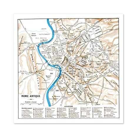 Amazon.com: Map Antique Historic 1870 Ancient Rome City Plan ...