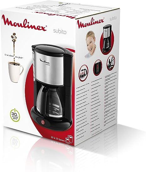 Moulinex Subito Inox - Cafetera, 1000 W, 10-12 tazas, dispositivo antigoteo, nivel de agua visible: Amazon.es: Hogar