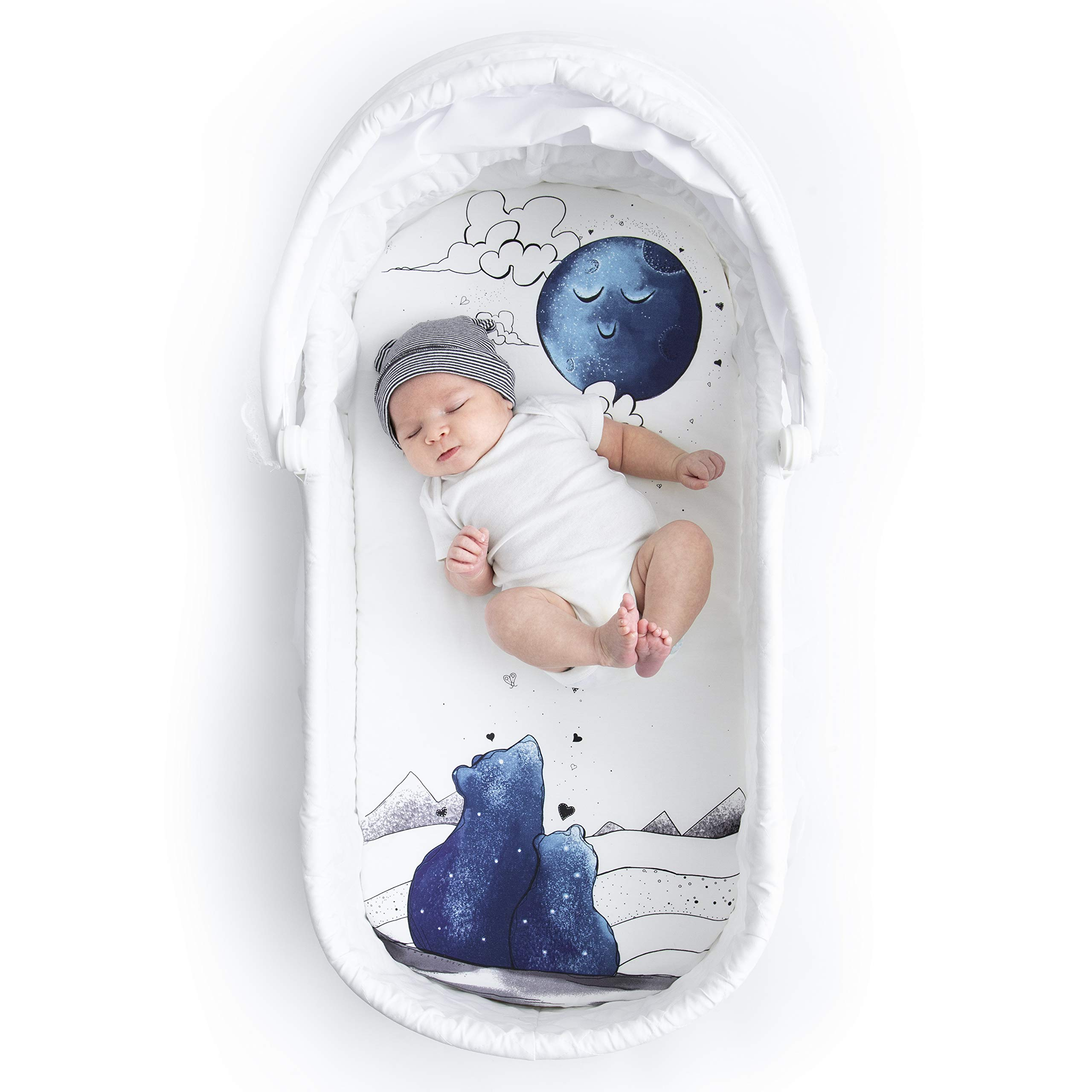 JumpOff Jo - Fitted Bassinet Sheet - 16'' x 32'' Fits Oval, Rectangle, and Hourglass Standard Sized Mattresses - 100% Cotton and Hypoallergenic - to The Moon Series: Mama Bear Blue