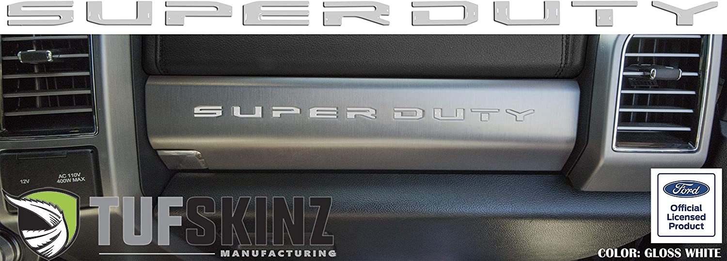 Brushed Silver 10 Piece Kit Super Duty Glove Box Letter Inserts Compatible with 2017-Up Ford Super Duty TUFSKINZ