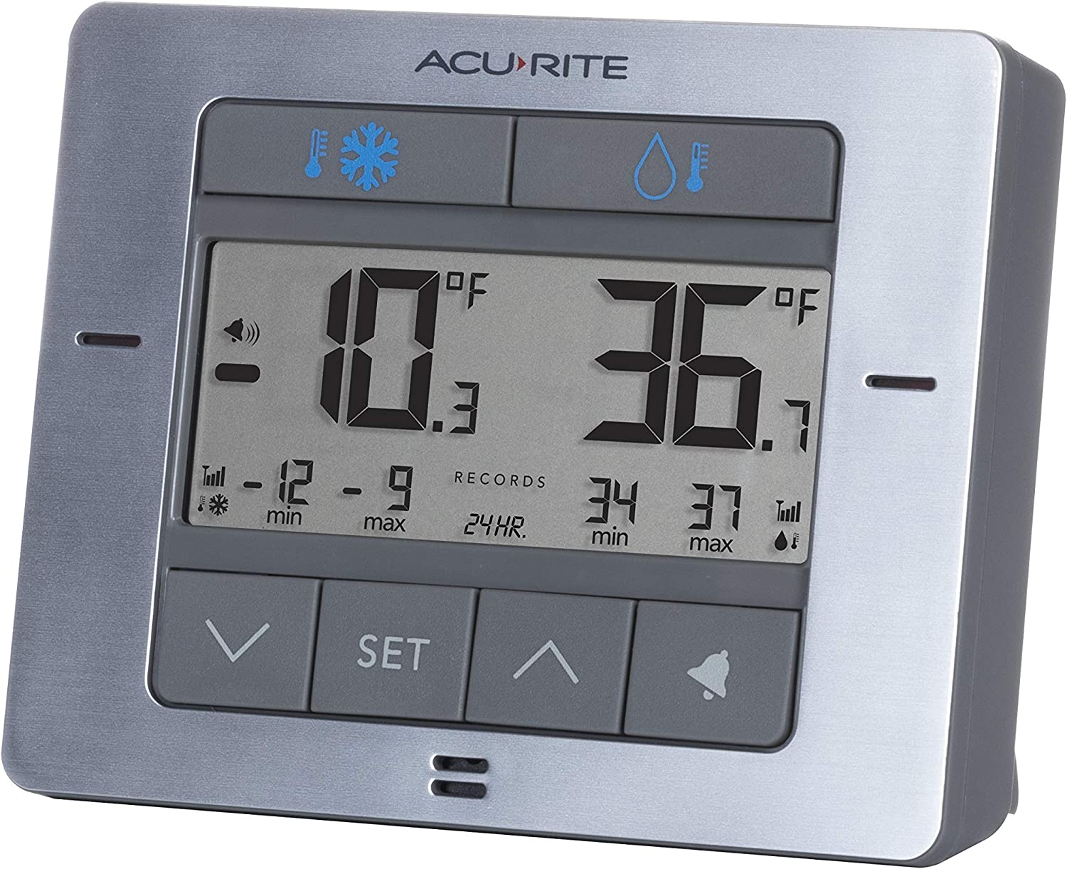 4.25 x 3.75 AcuRite 00515M fo Refrigerator Thermometer with 2 Wireless Temperature Sensors /& Customizable Alarms for Fridge /& Freezer Stainless Steel Finish