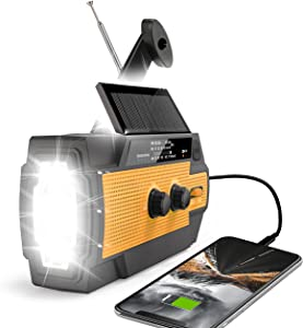 【2021 Newest】RunningSnail Emergency Crank Radio,6000mAh-Solar Hand Crank Portable AM/FM/NOAA Weather Radio with 1W Flashlight&Motion Sensor Reading Lamp,Cell Phone Charger, SOS for Home and Emergency