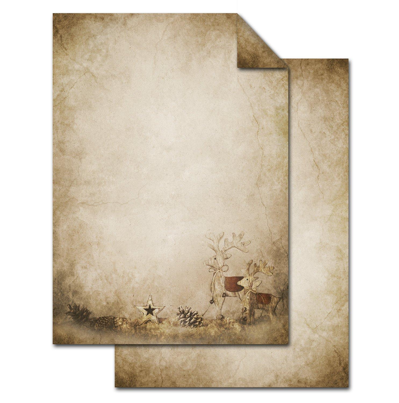 '50fogli di carta vecchio vintage motivo 'renne come qualità carta da lettere a Natale; menù, menù, invito al Fest...;, formato DIN A4, 100g, stampati su entrambi i lati menù 100g Jeanette Dietl
