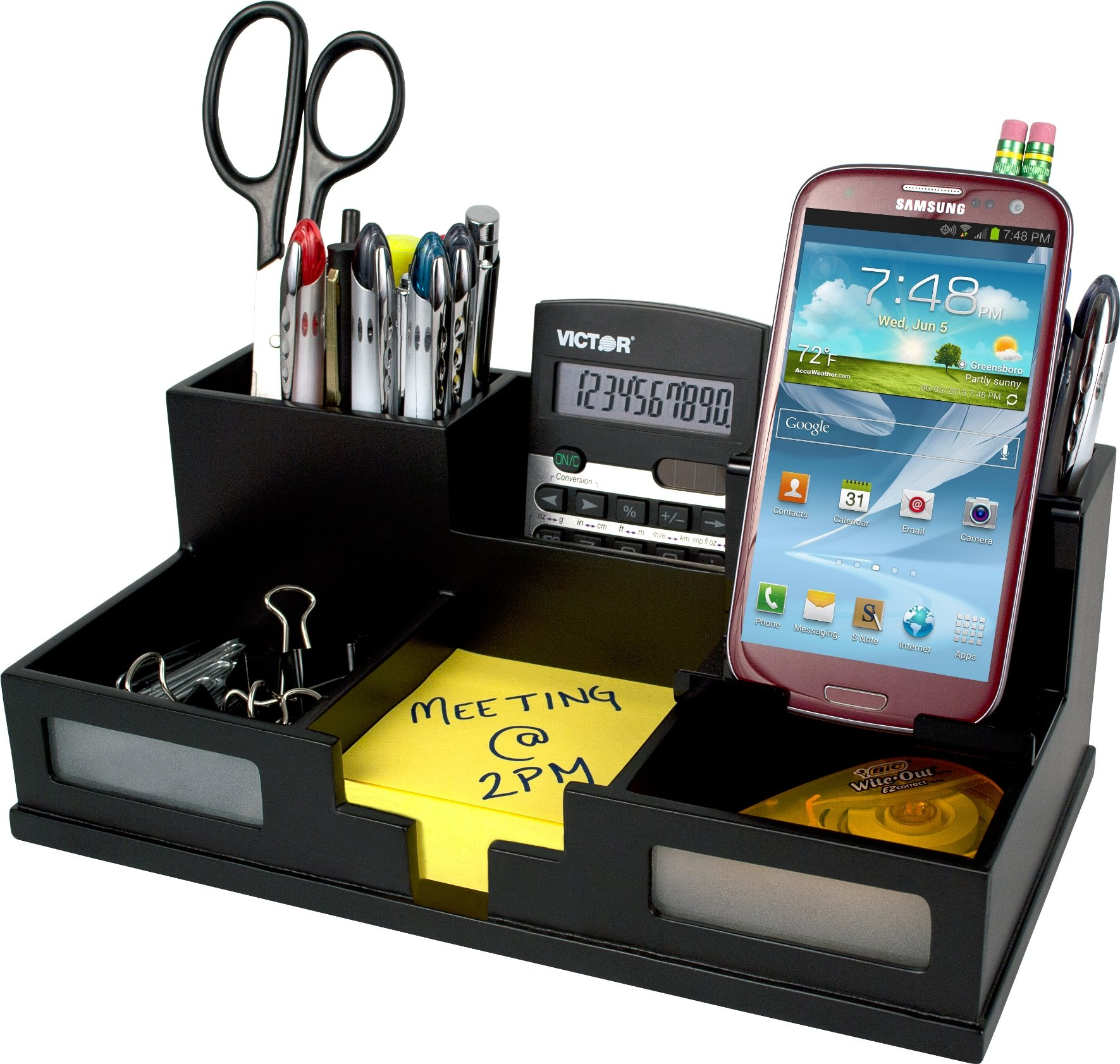 Victor Wood Desk Organizer with Smart Phone Holder, Midnight Black, 9525-5 by Victor