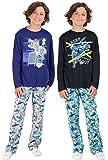 Sleep On It - Juego de ropa de dormir para niños de 4 piezas de manga larga y pantalón de pijamas de forro polar