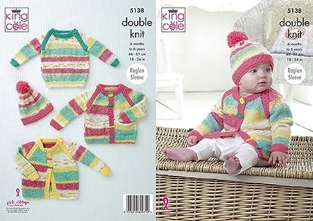 King Cole 5083 Knitting Pattern Blanket Coat Cardigan and Hat in Cherish DK