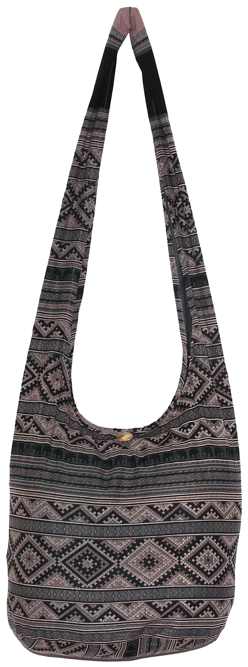 Elephant Hippie Bohemian Shoulder Hobo Boho Cross Body Bag 37 Inch (LightGrey)