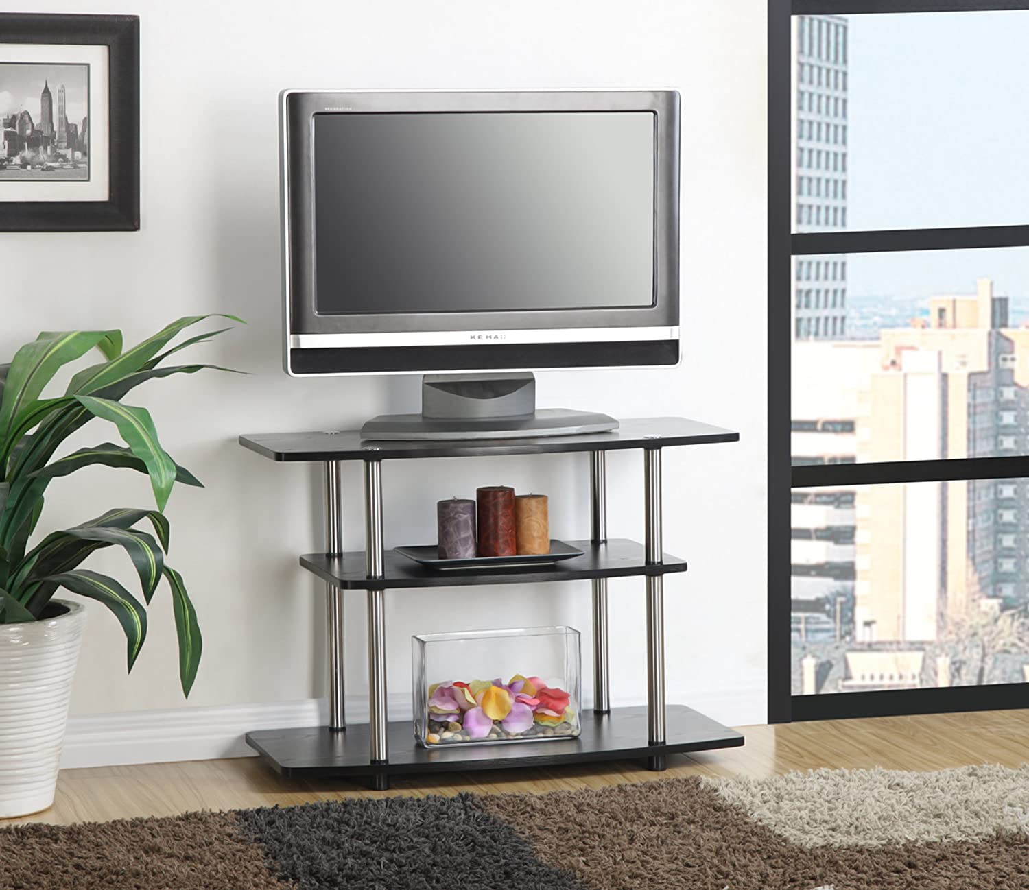 Amazoncom Convenience Concepts DesignsGo Tier TV Stand For - Home tv stand furniture designs