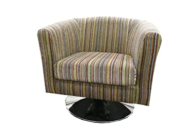Luxury Traditional Shape Tub Chair On A Chrome Swivel Base Upholstered In A  Quality Multi Coloured