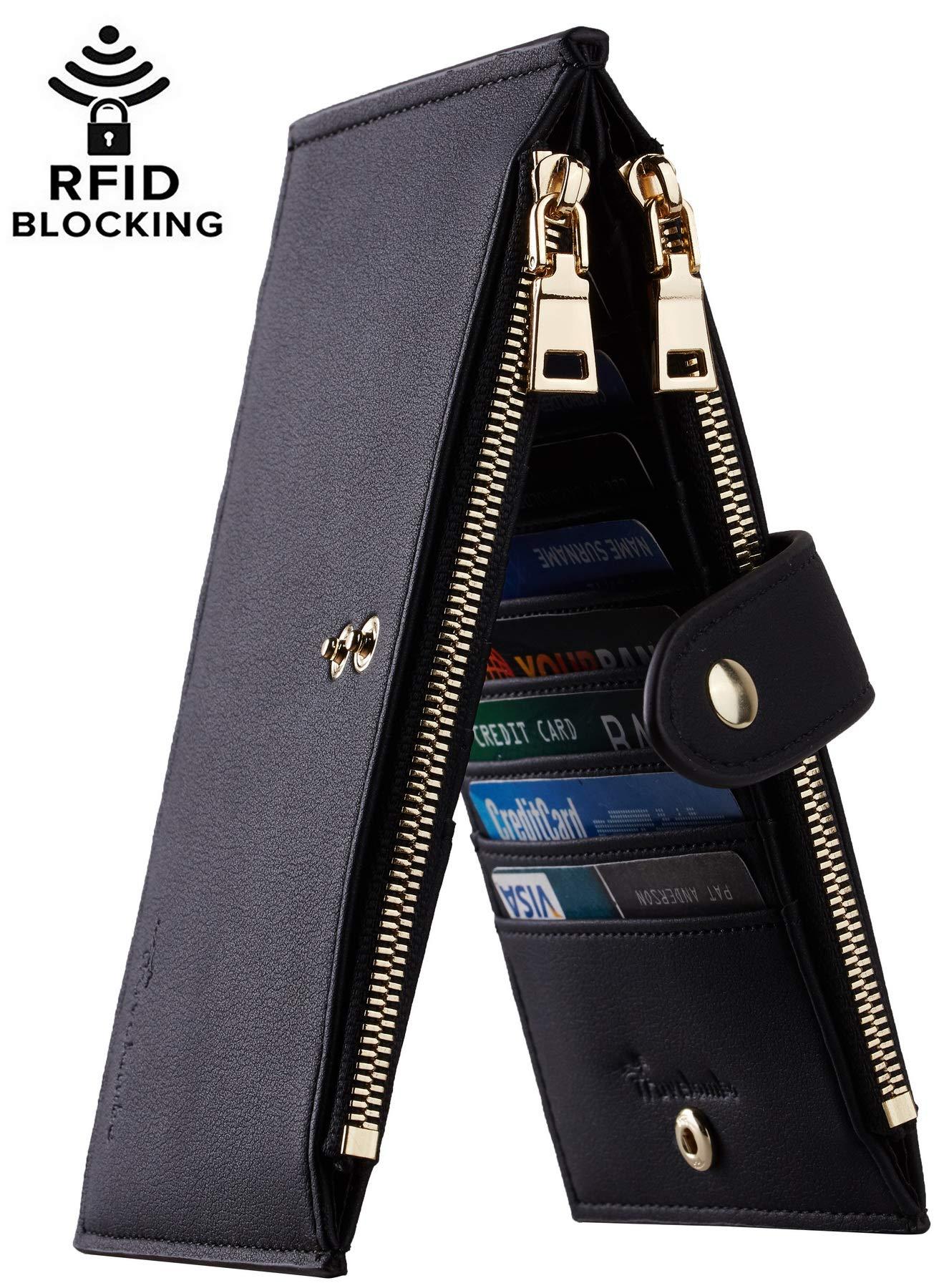 Travelambo Womens Walllet RFID Blocking Bifold Multi Card Case Wallet with Zipper Pocket (Chelsea black)