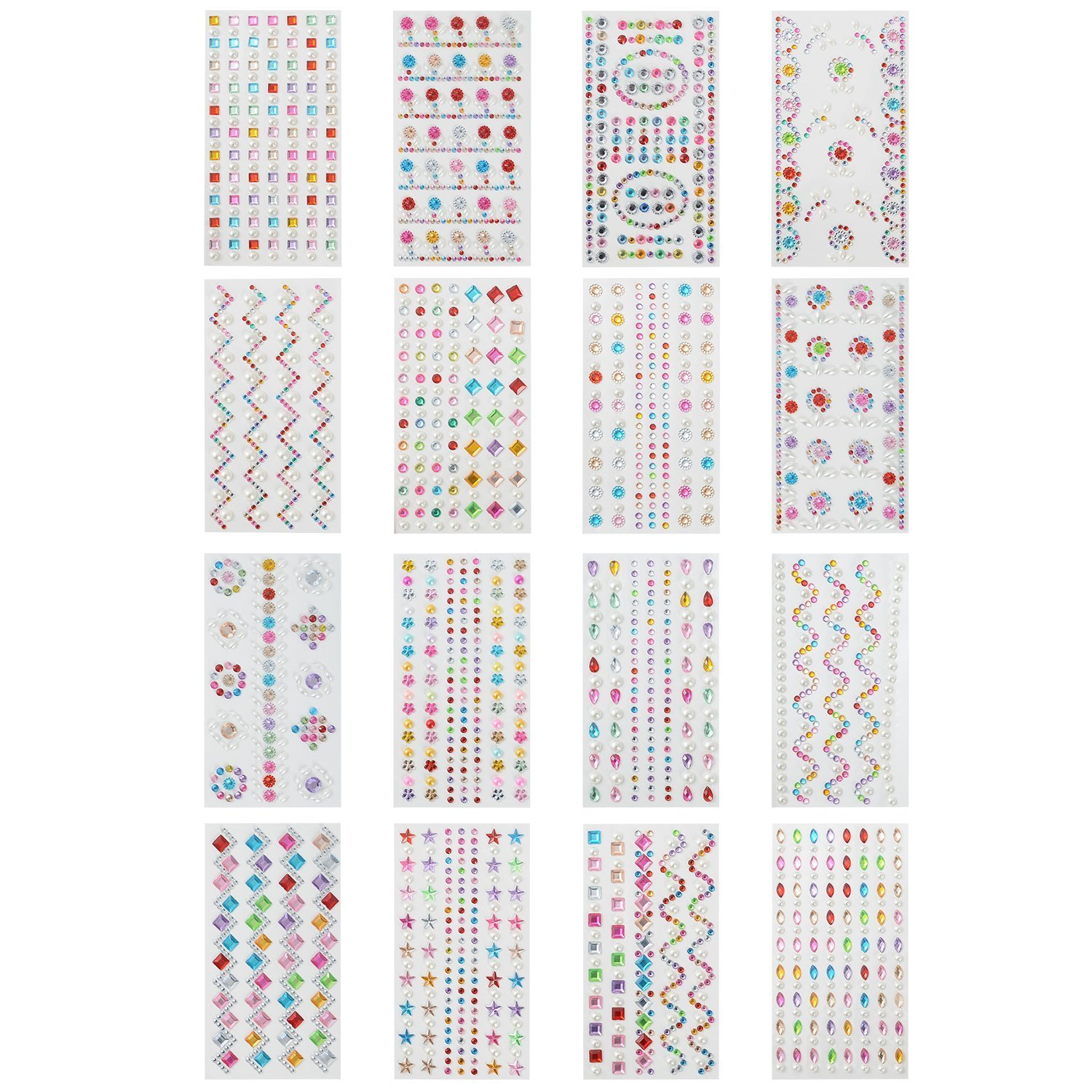 YUEAON 16 Pack Different Designs Colorful Rhinestone Stickers Self Adhesive Bling Craft Jewel gem Diamond Sticker Embellishments Assorted Size-16 Patterns