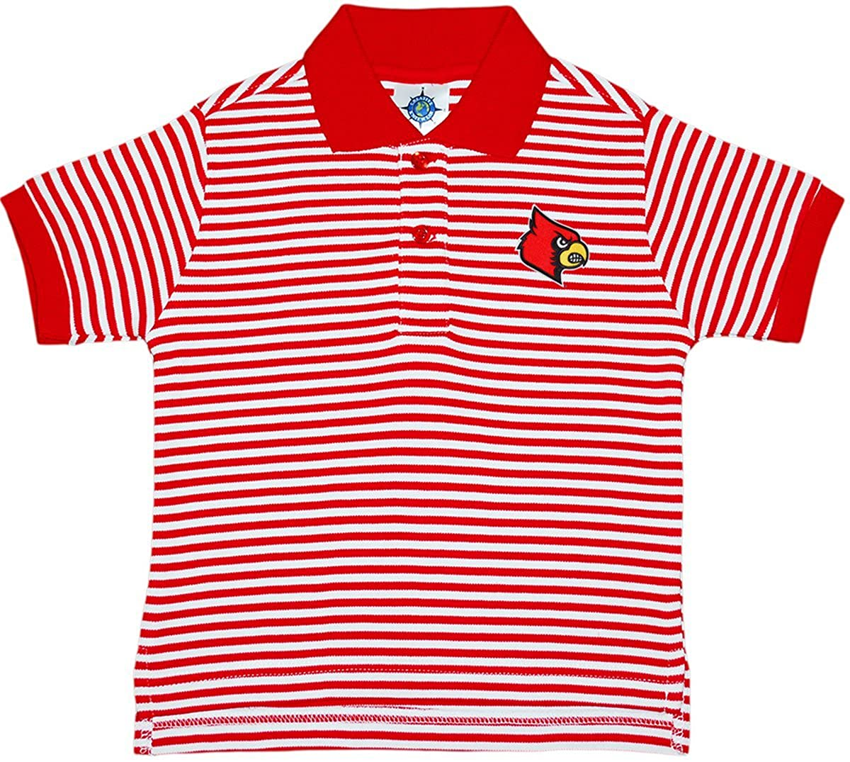 Creative Knitwear University of Louisville Cardinals Striped Polo Shirt Red/White 3T