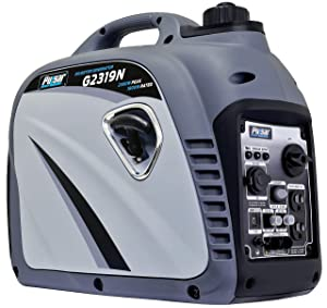 Pulsar G2319N 2,300W Portable Gas-Powered Quiet Inverter Generator with USB Outlet & Parallel Capability Carb Compliant, 2300w Gray,