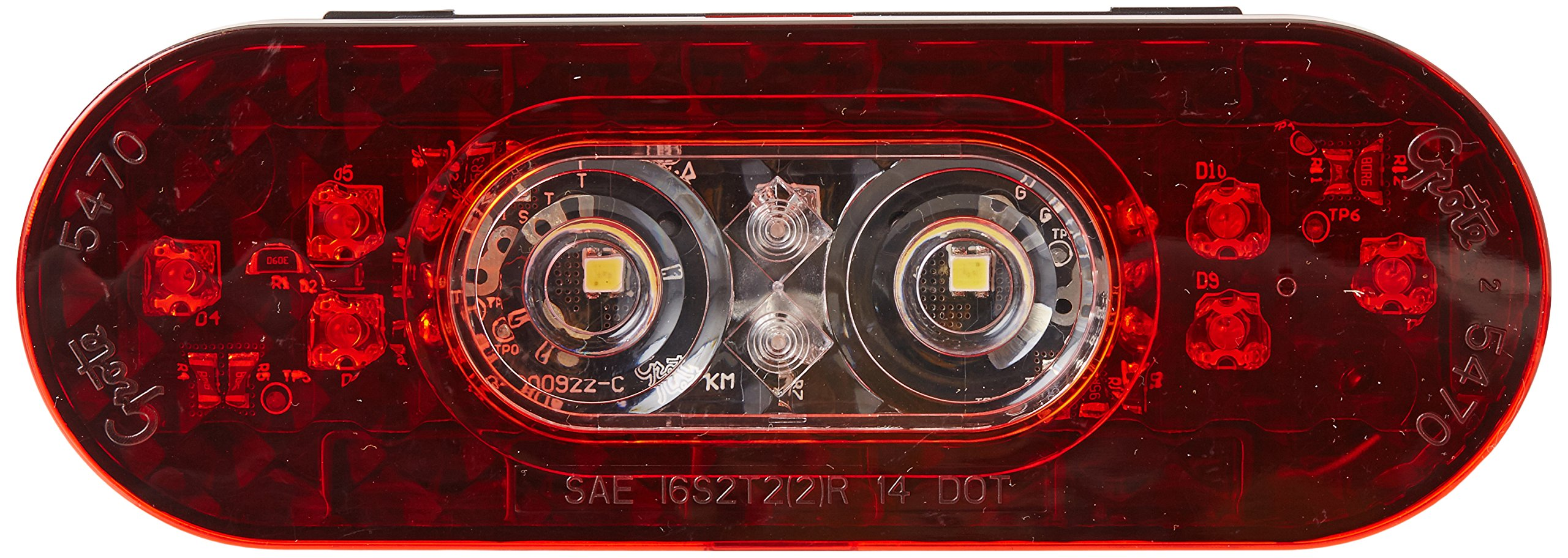 Grote 54702 6'' Oval LED Stop Tail Turn Light with Integrated Back-up (Integrated Hard Shell)